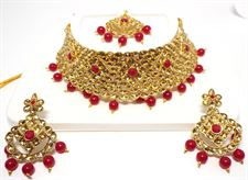 Red Pearl Golden Color Necklace Set for Women to wear in Wedding  Bridal (Earrings and Tikka included)