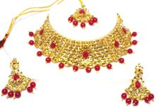 Red Pearl Golden Color Necklace Jewellery Set for Wedding  Bridal (Earrings and Tikka included)