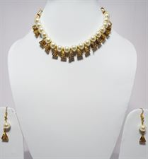 White Pearls Golden Drops Necklace Jewellery Set for Wedding  Bridal (Earrings and Tikka included)
