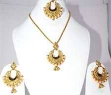 Long Necklace Jewellery Set with Earrings and Tikka for Girls and Women