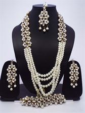 White Pearls Long Necklace Jewellery Set for Ladies
