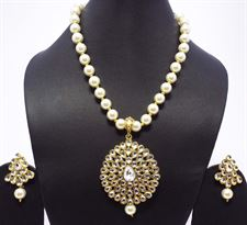 Long White Pearls Diamong Drop crystal Necklace Jewellery Set for Ladies with Earrings