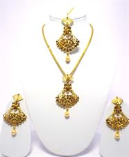 Long Golden Color Necklace Jewellery Set for Women with Earrings and Tikka