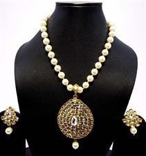 Long White Pearls Diamond Rectangular crystal Necklace Jewellery Set for Ladies with Earrings