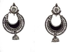 Silver Black Hoops Stylish Jhumki Earrings