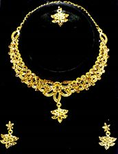 Pure Golden Color Ladies Necklace Set with Earring  Tikka for Wedding