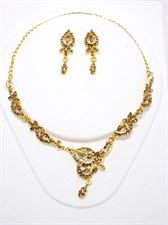 Designer Yellow Golden Color Necklace Set with Earrings for Wedding