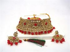 Red Pearl Golden Color Design Necklace Set for Women to wear in Wedding  Bridal (Earrings and Tikka included)