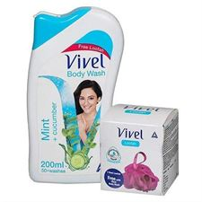 Vivel Body Wash Mint and Cucumber 200ml with free vivel Loofah