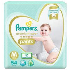 Pampers Premium Pants Cotton like soft Diapers with Wetness Indicator - M(54 Pieces)