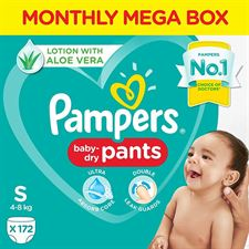 Pampers Diaper Pants Monthly Pack Lotion with Aloe Vera - S(172 Pieces)