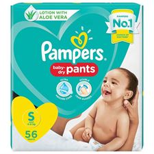 Pampers All round Protection Pants Small size baby diapers (SM) 56 Count Anti Rash diapers Lotion with Aloe Vera