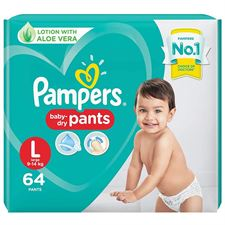 Pampers Pant Style Diapers Lotion with Aloe Vera - L(64 Pieces)