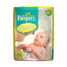 Pampers Active Baby Diapers New Born Extra Small (NB XS) size 72 Count Taped style diaper