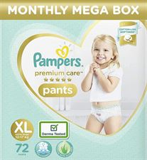 Pampers Premium Monthly Box Pack Cotton like soft Diapers with Wetness Indicator - XL(72 Pieces)