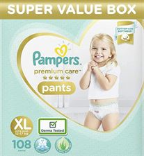 Pampers Premium Care Pants Extra Large size baby diapers (XL) 108 Count Softest ever Pampers pants