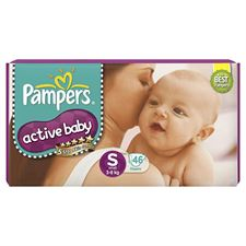 Pampers Active Baby Taped Diapers Small size diapers (SM) 46 count Taped style custom fit