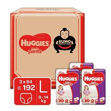 Huggies Wonder Pants Sumo Monthly Box Pack Diapers Large Size 192 Count