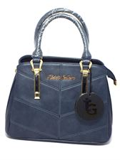 Navy Blue Leather Handbag Sling Bag with Leather Strip for Ladies