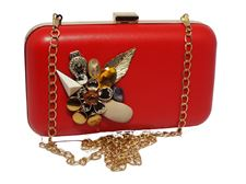 Red Color Steel Frame Fibre Hand Clutch for Casual, Dating  9 to 5 Collection with Steel Chain