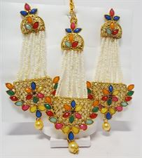 Long Ethnic Earrings with Tikka Set